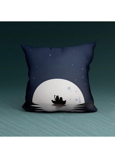 Artikel Ay ve Deniz Desenli Dekoratif Çift Taraflı Yastık Kırlent Kılıfı 45x45 cm Renkli